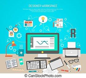 diseñador, espacio de trabajo, concepto