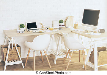diseñador, lugar de trabajo, interior