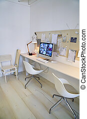 diseñador, lugar, trabajando