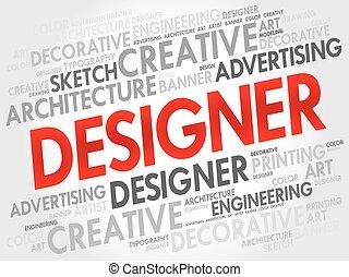 diseñador, palabra, nube