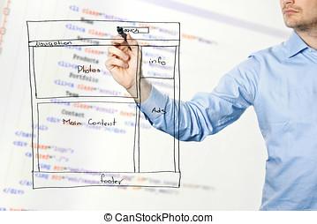 diseñador, presentes, sitio web, desarrollo, wireframe