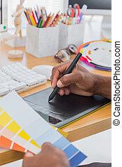diseñador, tableta, gráfico color, gráficos, interior
