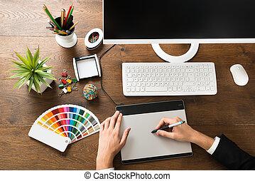 diseñador, tableta, gráfico, digital, utilizar, macho