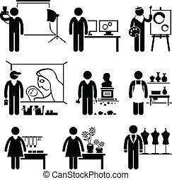 diseñador, trabajos, artístico, ocupaciones