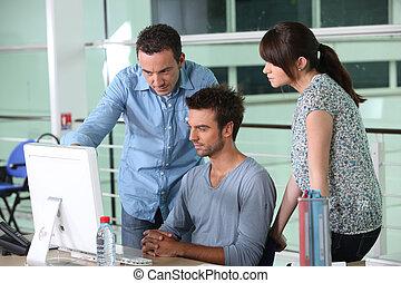 diseñadores, grupo, oficina