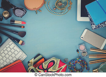diseñar, femenino, escritorio