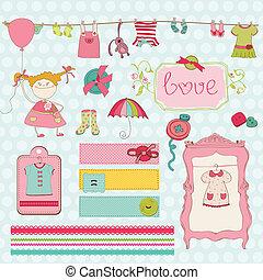 diseñe elementos, para, bebé, álbum de recortes, -, nena, guardarropa, colección