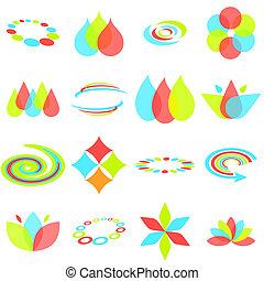diseño abstracto, elementos, en, rojo, verde, y azul