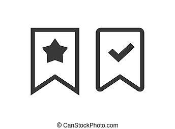 diseño, aislado, starred, pictogram, etiqueta, blanco, icono...