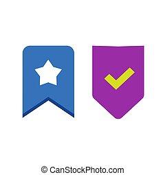 diseño, aislado, starred, pictogram, etiqueta, icono, azul, ...