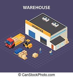 diseño, almacén, exterior, isométrico, concepto