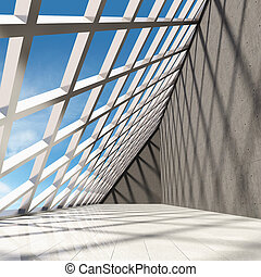 diseño arquitectónico, de, moderno, concreto, vestíbulo