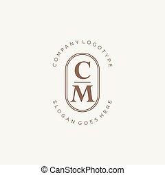 diseño, belleza, elegante, inicial, logotipo, monogram, cm