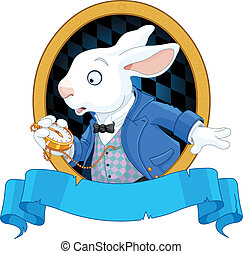 diseño, blanco, reloj, conejo