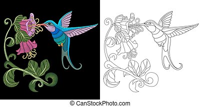 diseño, bordado, colibrí