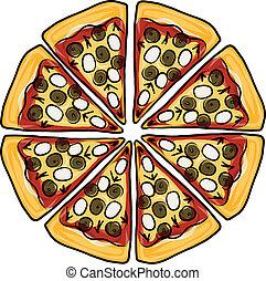diseño, bosquejo, pizza, su, pedazos