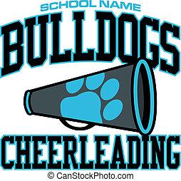 diseño, bulldogs, cheerleading