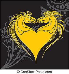 diseño, caballo, vector, -, ilustración