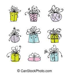 diseño caja, su, regalo, iconos