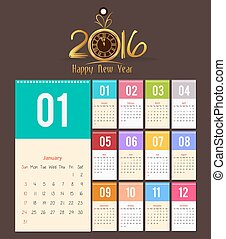 diseño, calendario, 2016, -, plantilla