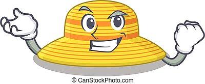 diseño, cara, sombrero, divertido, verano, concepto, feliz, caricatura