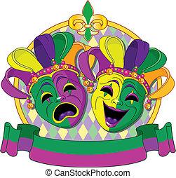 diseño, carnaval, máscaras