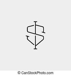 diseño, carta, si, ss, logotipo, simple, vector, protector,...