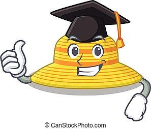 diseño, ceremonia, sombrero, verano, orgulloso, feliz, graduación, caricatura