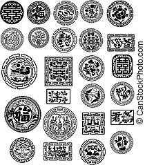 diseño, chino