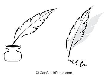 diseño, con, pluma