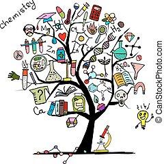 diseño, concepto, árbol, su, química
