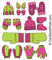 diseño, conjunto, guantes, invierno, manoplas