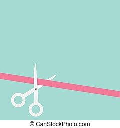 diseño, corte, derecho, tijeras, style., plano, left., cinta