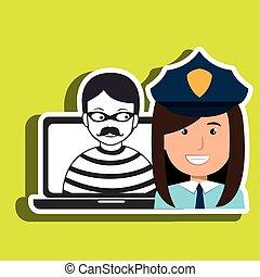 diseño, criminal, ladrón, policía