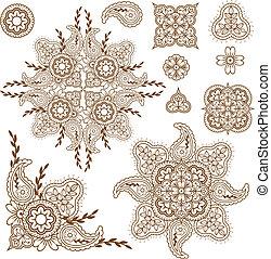 diseño de estampado de cachemira, elementos, conjunto