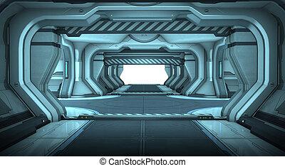 diseño de interiores, ciencia ficción, pasillo