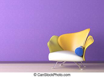 diseño de interiores, con, sillón, en, violeta, pared