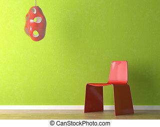 diseño de interiores, de, silla roja, en, pared verde
