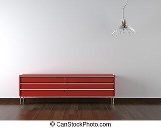 diseño de interiores, rojo, muebles, en, wite, pared