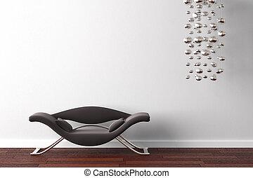 diseño de interiores, sillón, y, lámpara, blanco