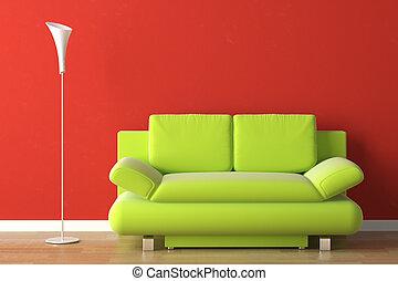 diseño de interiores, sofá verde, en, rojo