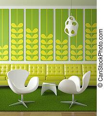 diseño de interiores, verde, retro