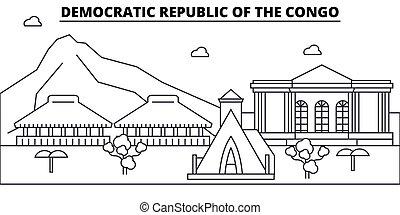 diseño, edificios, república, landmarks., vector, contorno, concepto, editable, strokes., silueta, línea, plano, arquitectura, congo, illustration., democrático, paisaje urbano, contorno