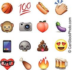 diseño, emoticons, lindo, conjunto, smiley, emoji
