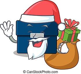 diseño, empresa / negocio, navidad, caricatura, regalo, maleta, santa, teniendo