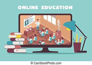 diseño, en línea, concepto, educación