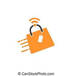 diseño, en línea, logotipo, tienda, vector