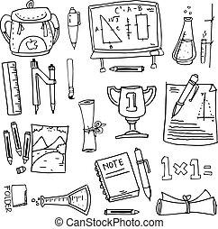 diseño, escuela, educación, doodles
