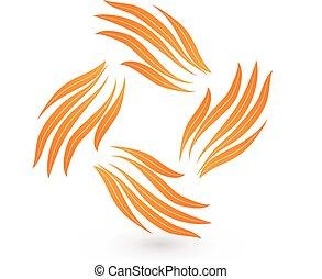 diseño, Extracto,  vector, trabajo en equipo, Manos, logotipo, icono
