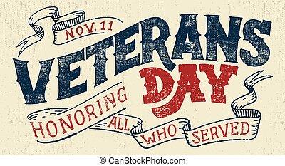diseño, feriado, veteranos, tipográfico, día